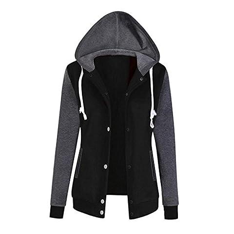 Pullover Damen Btruely Frau Herbst Hoodie Sweatshirt Mode Langarm Damen Causal Tops (XL, Schwarz) (Zurück Pullover)