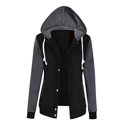 Pullover Damen Btruely Frau Herbst Hoodie Sweatshirt Mode Langarm Damen Causal Tops (M, Schwarz) (Hut Stiefel)
