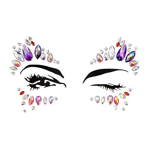 Oblique Unique® Gesicht Aufkleber Strasssteine Juwelen Sticker Set Selbstklebend zum Verführen für Party Junggesellenabschied JGA Fasching Karneval -