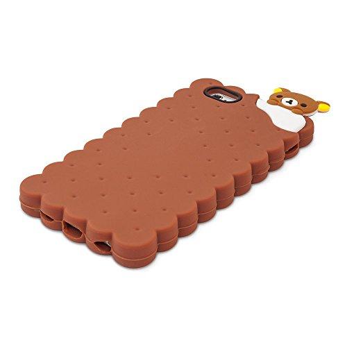 BACK CASE 3D Cookie Kuche Keks für Apple iPhone 5 iPhone 5S iPhone 5G iPhone 5SE Hülle Cover Case Schutzhülle Tasche Silikonhülle Etui (gelb) braun