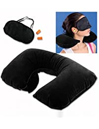 Household 3 In 1 Air Travel Kit - Pillow , Ear Buds & Eye Mask ( Pillow - Flannelette ,Ear Buds - Cotton Foam...