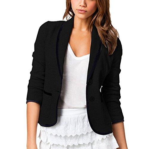 DELEY Donne Autunno Slim Fit Elegante Ufficio Business Giacca Tuta Blazer Top Camicetta Outwear Maglietta Nero Taglia S