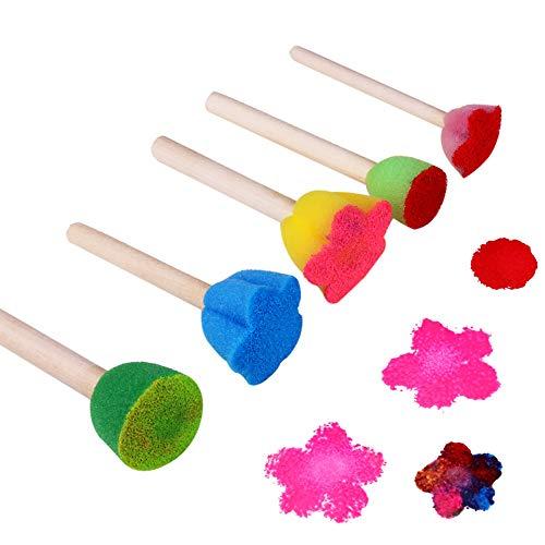 Lomsarsh 5 stücke malerei Pinsel Spielzeug Bunte Muster DIY Spielzeug Graffiti Mini Blume Schwamm malerei Werkzeuge interaktive lernspielzeug (Malerei Pinsel Gesicht)