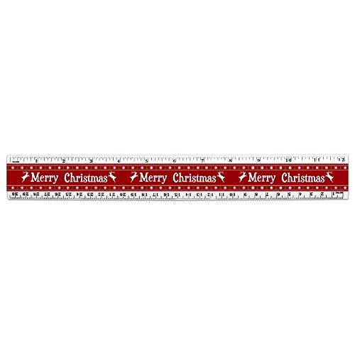 Merry Christmas Urlaub Rentier 30,5cm Standard und metrisches Kunststoff Lineal (Schneeflocken Urlaub-pullover Roten)