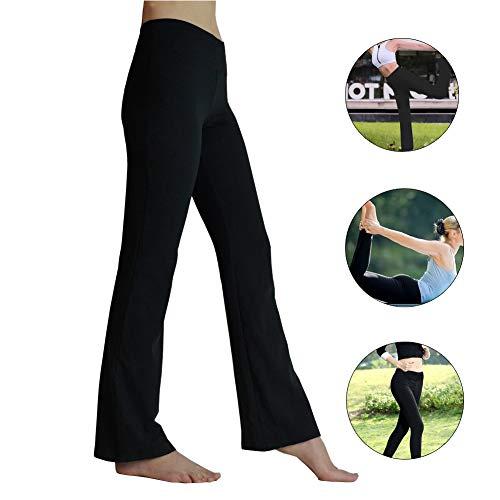 HETAIDA Damen Jogginghose, schnell trocknende Sporthose mit versteckten Taschen, mittlhohe Taille stilvolle freizeitliche Yogahose für Fitness, Outdoor-Sport und als Alltagskleidung (Black, XL) - Glatte Beine Weg