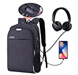 Hoteon Mobilife Water Resistant Anti-Theft Black Business Laptop Backpack with USB Charging Port
