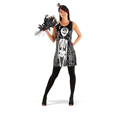 Folat 21927 Skelett Paillettenkleid Costume, schwarz, ()
