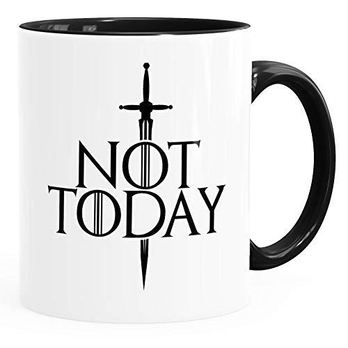 MoonWorks® Kaffee-Tasse mit Spruch Not Today Bürotasse lustige Sprüche Serie Zitat Kaffeebecher Inner-Schwarz Keramik-Tasse