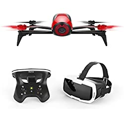 Parrot BEBOP 2 FPV - Dron cuadricóptero (Full HD 1080P, 14 Mpx, 60 Km/h, 25 minutos de vuelo, 2 Km de alcance, 8GB) + Mando Skycontroller 2 + Gafas Cockpitglasses, color rojo