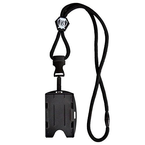 Specialist ID Schwarzes Schlüsselband mit abnehmbarem Kunststoffhaken und 2 Haltern für Karten, Ausweise, Bagdes.