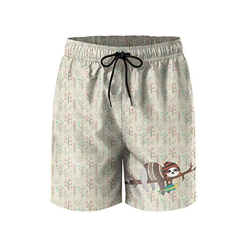 Qfunny Funny Blue Sloth Men's Summer Beach Quick-Dry Surf Swim Trunks Boardshorts Cargo Pants Herrenshorts am Strand