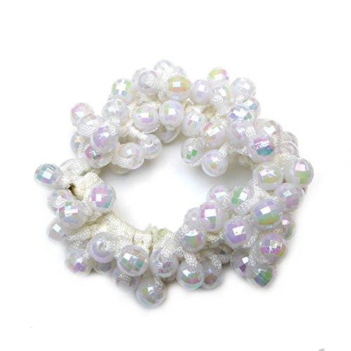 rougecaramel Haargummi mit Haar oder Armband Multi Perlen Weiß (Perlen Armband Multi)
