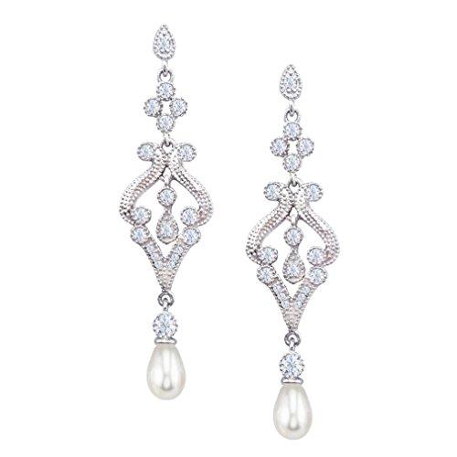 SELOVO Hochzeit Schmuck Braut Zirkonia künstliche Perle Lange Tropfen Chandeliar Ohrringe Silber-Ton
