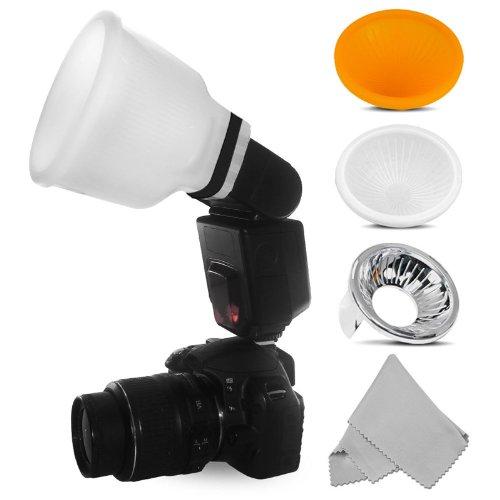 Universal Blitzdiffusor Lambency Cloud + Kit 3 Aufsätze für alle Blitzlichter : Canon Speedlite, Nikon Speedlight, Yongnuo, Nissin, Sony, Metz, Pentax, etc. Gratis dazu: ein Mikrofasertuch für die Optik.