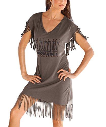 Lose Bademode (Jusfitsu Damen Longshirt mit Fransen Casual Langes Shirt Lose Tunika Kurzarm T-Shirt Kleid Braun S)