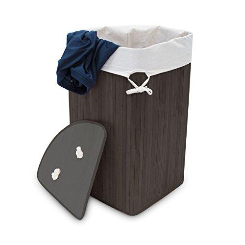 Relaxdays Eckwäschekorb Bambus HxBxT: ca. 65 x 49,5 x 37 cm faltbare Wäschetruhe eckig mit einem Volumen von 64 L mit Wäschesack aus Baumwolle zum Herausnehmen für Ecken und Nischen im Bad, schwarz