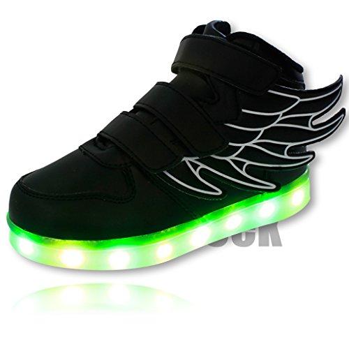 DoGeek estate e primavera Light Up-Scarpe da ginnastica alte, da bambino, a forma di angelo, a LED, a mezza misura), Nero (nero), 34 EU