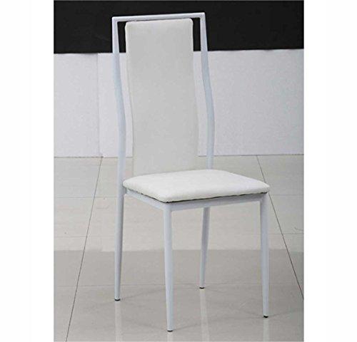 Set di 4 Sedie Imbottite Ecopelle Sararreda - Colore Bianco per ...