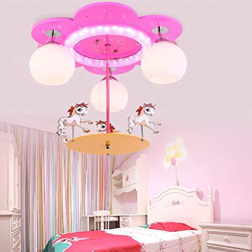 Prinzessin Zimmer Deckenleuchte, Cartoon Kronleuchter Babyzimmer Kindergarten Klassenzimmer Leuchten Decke Vergnügungspark Gang Gang Tee Raum Pendelleuchte E27 * 3,Pink -