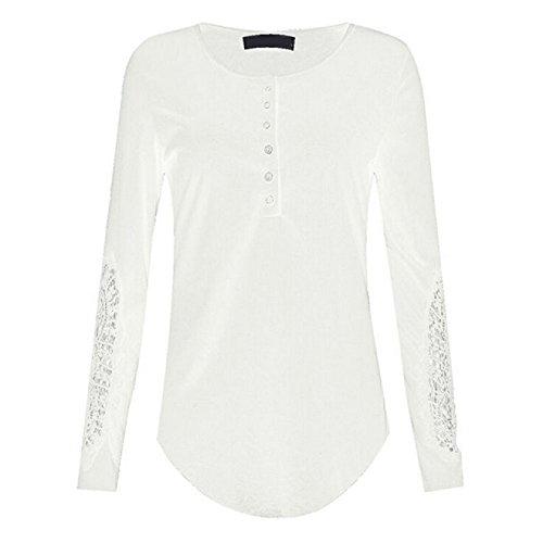 Ularma Damen Langärmelige Bluse Blumen Hohl Fit Baumwolle Shirts T-Shirts mit Knöpfe Weiß