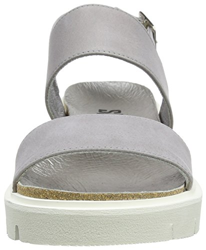 SHOOT Damen Shoes Sh-164446dd Sommer Leder Sandale Chunky Plateau Grau (Perla)