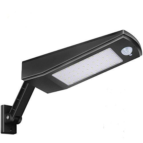 AIMENGTE Luce Solare Esterno, 900lm 4500mAh 48LED Lampada Solare con Sensore di Movimento & Staffa Regolabile, Luci Solari da Parete Impermeabile Solare LED con 4 modalità per Giardino,Patio