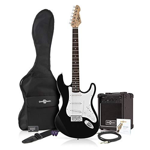 Guitarra Eléctrica LA + Paquete de Amplificador Negro