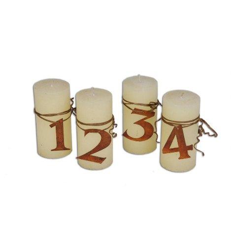 Metallmichl Edelrost Adventszahlen 1-4 in rost Metall für Kerzen, oder Adventskranz