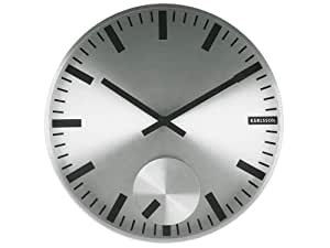 Karlsson KA5254SI Horloge Moving Index -Métal poli Design Boxtel & Buijs Diamètre: 30 cm Argent