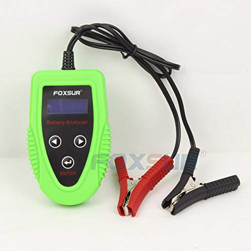 FOXSUR 12V Batteria per auto Tester LCD Analizzatore di batterie Scanner Scanner Strumento diagnostico Gel AGM WET CA SLA Batteria CCA IR SOH (colore: verde)