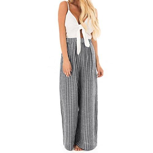 Vestito de Donna, MEIbax Casual Clubwear Ampio Gamba Pantaloni Donne Bowknot Senza Maniche a Strisce Stampa Tuta (bianco, L)