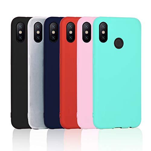 6x Funda XiaoMi Mi A2, (No disponible para XiaoMi Mi A2 Lite) XiaoXiMi Cárcasa Silicona TPU Funda Ultra-Delgado - [ Negro + Translúcido + Azul oscuro + Rojo + Rosa + Verde Menta ]