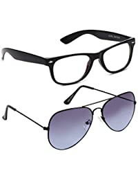 Xforia Polarized Fancy Aviator& Wayfarer Sunglasses For Men & Women Combo Of 2 (DX-FLX- 531 | Blue& Black Plain...