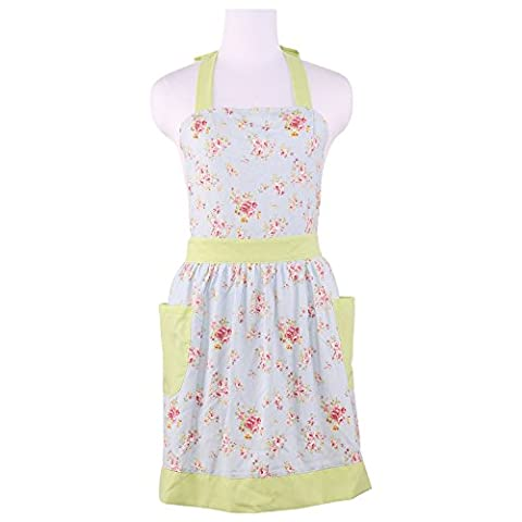Neoviva Cotton Canvas Floral Garden Apron with Pocket for Women, Royal Blossom Roses Blue (Solid Bright