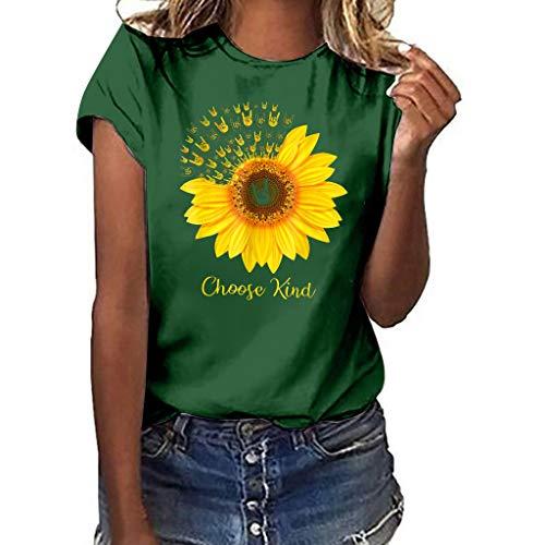 Andouy Damen I Love You 3000 Times Brief Gedruckt Einfache T-Shirt Tops(M(36).GrünA)
