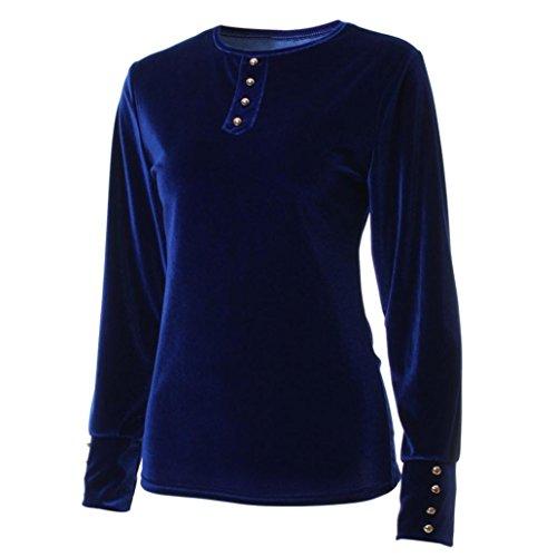 Chemisier femme , Transer ® Fashion femmes manches longues velours Stretch Sweatshirt Blouse lâche Bleu