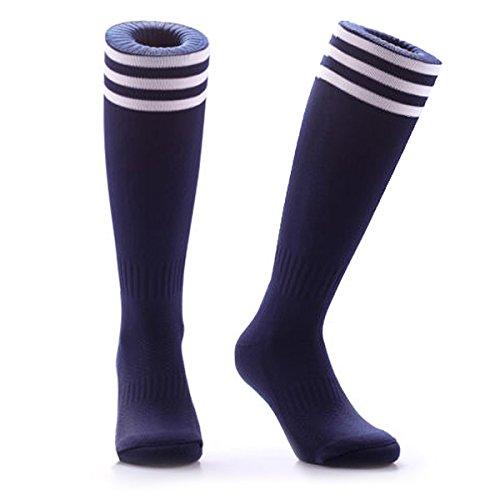 Samson Strumpfwaren® Fußball Socken Striped Knee High Stripe Large Unisex Hockey Rugby Herren Damen Gr. L, Mehrfarbig - Marineblau