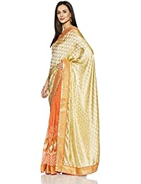 Womanista Women's Faux Crepe & Georgette Sari With Blouse Piece(FS9190_Beige And Peach_Free Size)