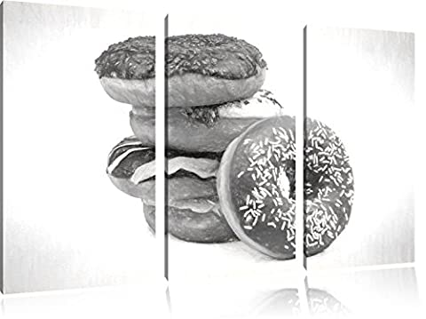 Sweet Donuts charcoal drawing effect 3-piece canvas picture 120x80 image on canvas, XXL huge Pictures (Fragola Caffè Aromatizzato)