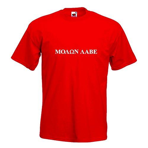Kiwistar Molon Labe - Sparta - Leonidas T-Shirt in 15 Verschiedenen Farben - Herren Funshirt Bedruckt Design Sprüche Spruch Motive Oberteil Baumwolle Print Größe S M L XL XXL Rot