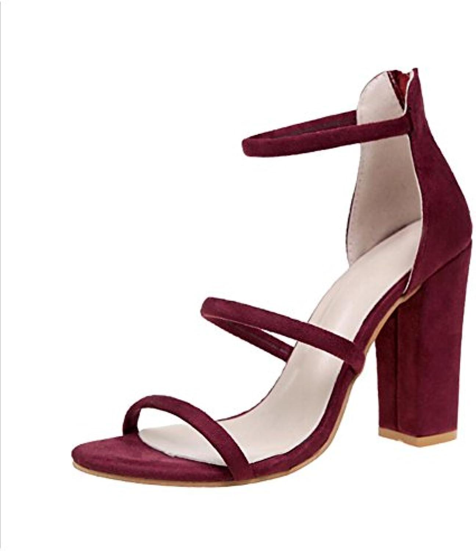 Zapatos de mujer Zapatos de gamuza de verano Botas Sandalias de tacón alto Hebilla de zapato de fiesta y noche...