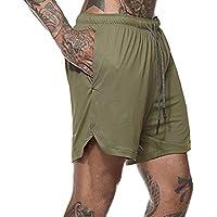 LIOOBO Hombres Pantalones Cortos de Playa de Verano con Cordones, Pantalones Cortos Sueltos, Pantalones Cortos elásticos de Doble Capa para Entrenamiento Deportivo (Verde)