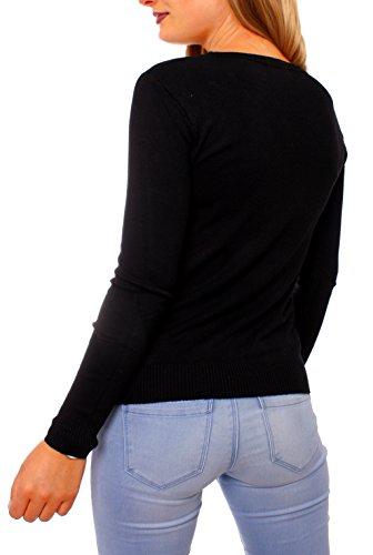 Damen Feinstrick Pullover Strickpulli Langarm Sweater Knitwear - Rundhals-Ausschnitt einfarbig Schwarz