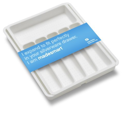 Madesmart 2 by 16 by 13-1/4 to 21-1/4-Inch Expandable Silverware Tray, White by Made Smart -