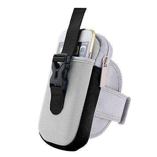 Sport Sportarmband Tasche Doppel Taschen für Handy Halter Tasche Gürtel Gym Arm Tasche Gray black border