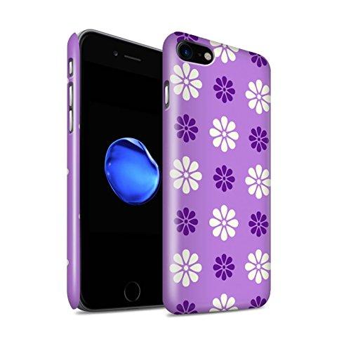 STUFF4 Glanz Snap-On Hülle / Case für Apple iPhone 8 / Grün Muster / Muster mit Blütenblättern Kollektion Violett