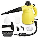 H·HOSUN Classic Multifunction Handheld Steam Cleaner with Child Lock, 9-Piece Accessories for Stain Removal、Bed Bug Control、Curtains、Carpets、Car Seats, 1050W, 3.5Bar, UK Plug (Yellow)