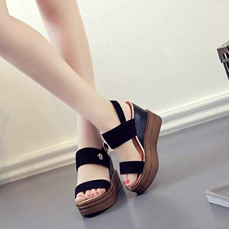 Oudan Chaussures Plateforme pour Femmes Plateforme Chaussures Sandales en Cuir glacé Plateforme imperméable avec Sandales à Gueule de... bb5d98
