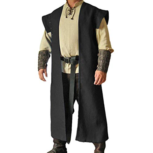 Herren Mittelalter Mantel Vintage Renaissance Strickjacke Mantel Viktorianisch Wikinger Pirat Outwear Halloween Karneval Cosplay - Leichte Herren Renaissance Kostüm