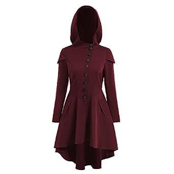Bonboho Femme Manteau Capuche Trench-coat Gothique Lacets Veste avec Ourlet Asymétrique Rétro Automne Printemps S-XXL (Bordeaux, XXL)